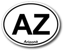 Arizona Oval Shaped Bumper Sticker